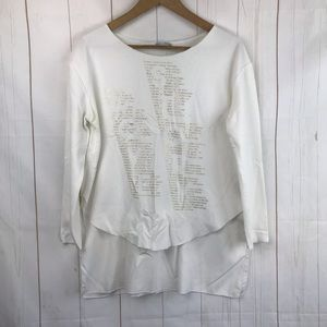 Zara Love Story White Long Sleeve Top Size M
